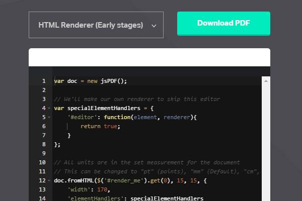 jsPDF – HTML5 PDF Generator – Scriptism